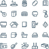 Clean hands and antiseptic napkins vector line icons. Sanitary and hygiene symbols