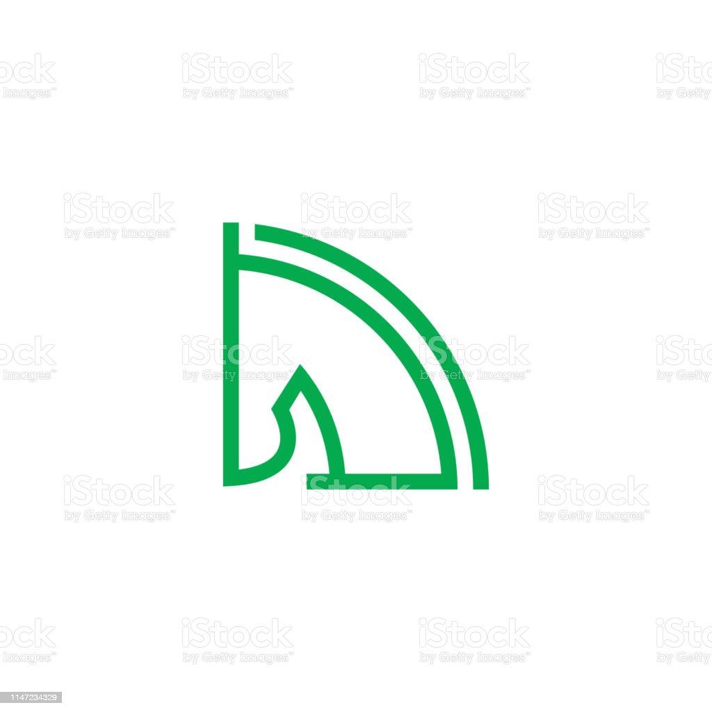 clean horse head line. quarter circle shape animal line art vector...
