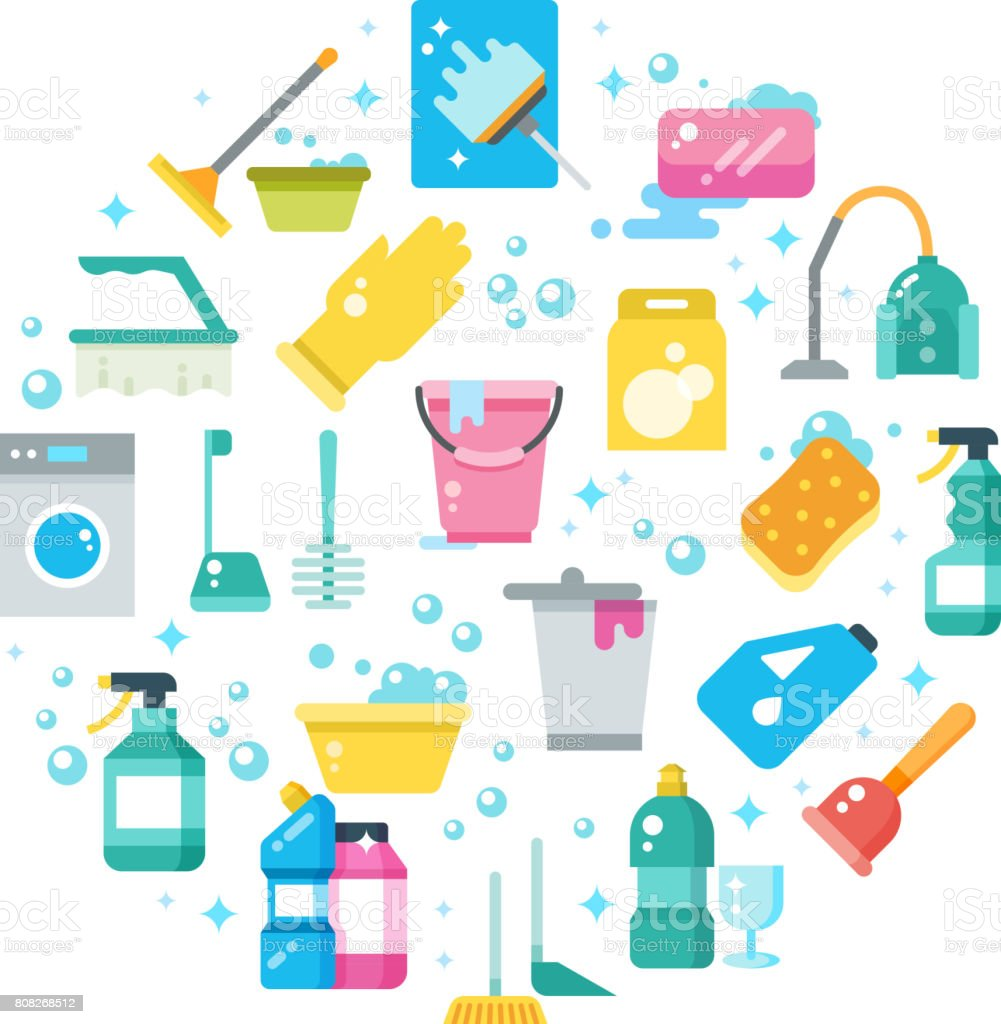 Sauberes Haus-Konzept mit Reinigung und Waschen Werkzeuge-Vektor-icons – Vektorgrafik