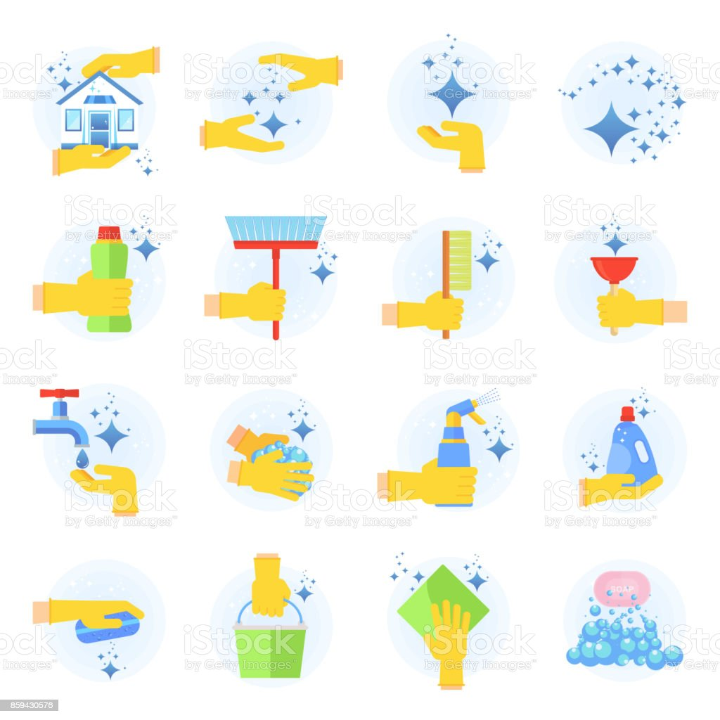 clean icon set vector art illustration