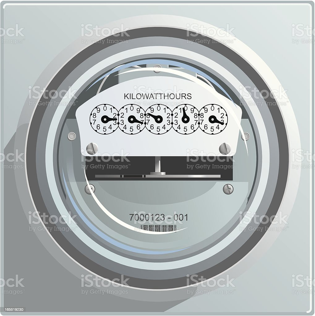 Clean illustration of an electric power meter royalty-free stock vector art