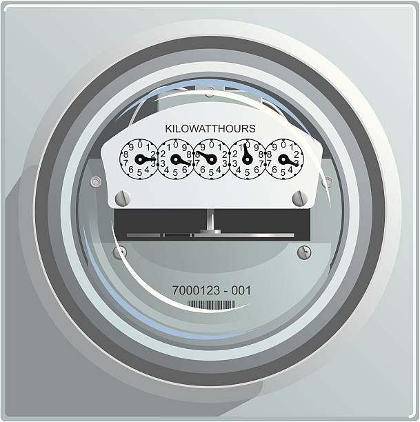 Clean illustration of an electric power meter vector art illustration