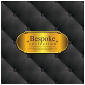 A elegance black leather background with a gold metal plate. Metal plate and the leather background are grouped individually.