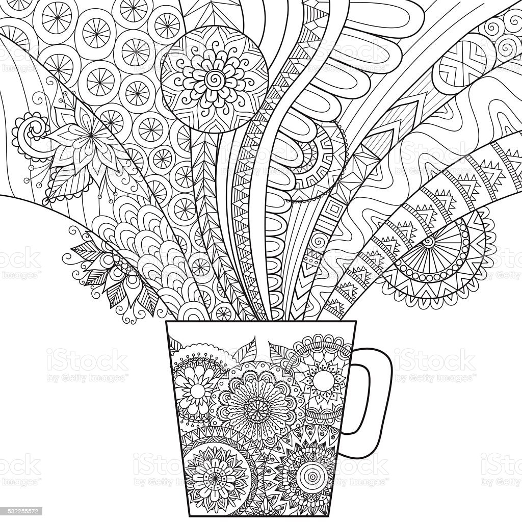 Clean lines doodle art of a mug of coffee vector art illustration