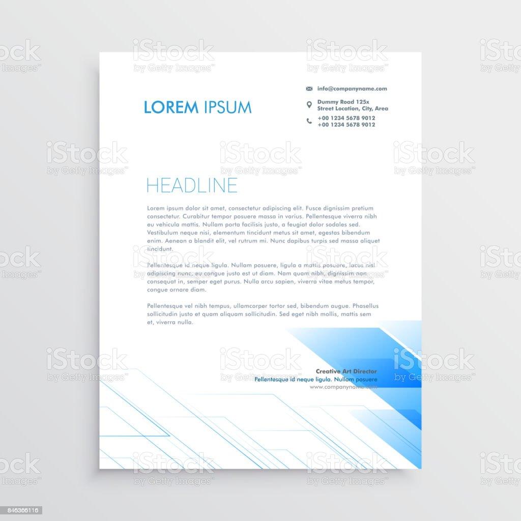 Briefkopf Minimal Design Mit Blauen Form Reinigen Stock Vektor Art