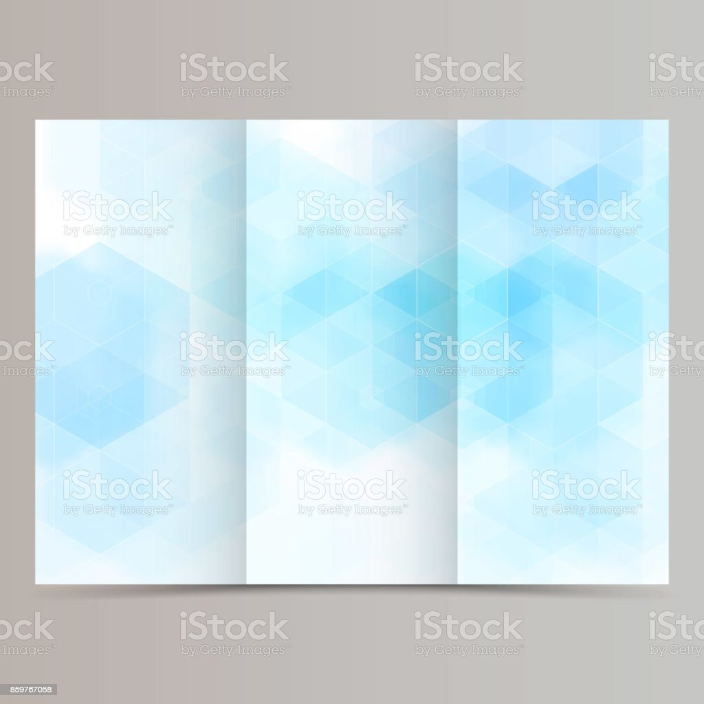 clean minimal tri-fold brochure flyer leaflet design with blue hexagon vector art illustration