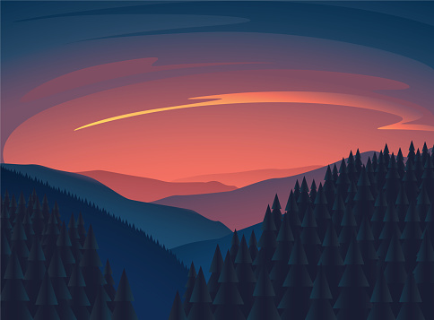 clean minimalist sunset nature illustration with mountain and tree