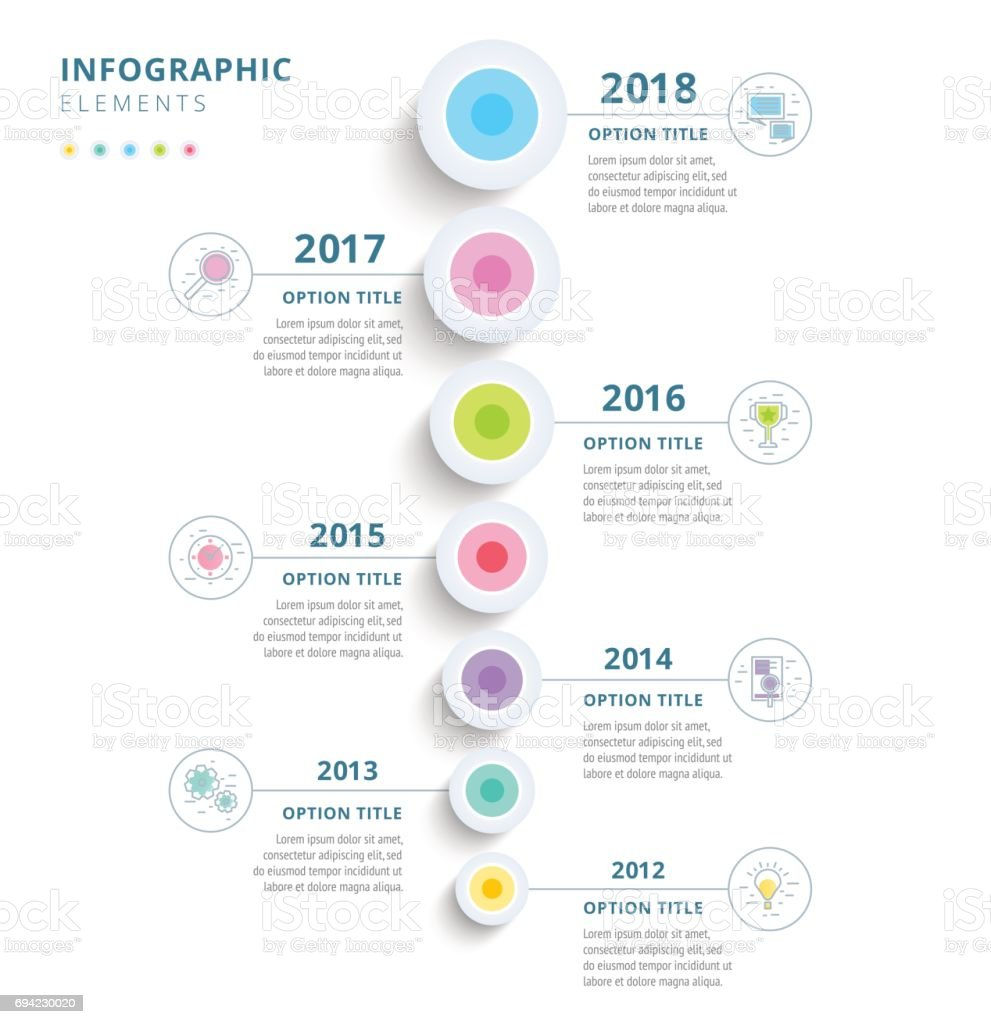Clean minimalistic business 5 step process chart infographics with step circles. Bright corporate graphic elements. Company presentation slide template. Modern vector info graphic layout design. vector art illustration