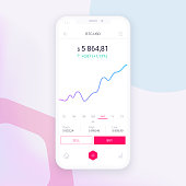 Clean Mobile UI Design Concept. Trendy Mobile Banking. Cryptocurrency Technology. Bitcoin Exchange