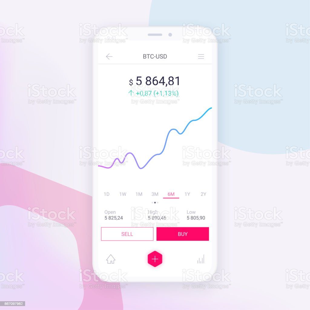 Clean Mobile UI Design Concept. Trendy Mobile Banking. Cryptocurrency Technology. Bitcoin Exchange vector art illustration