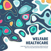 Clean and modern vector illustration templates for welfare and healthcare posters, branding projects, social media visuals or other design materials.