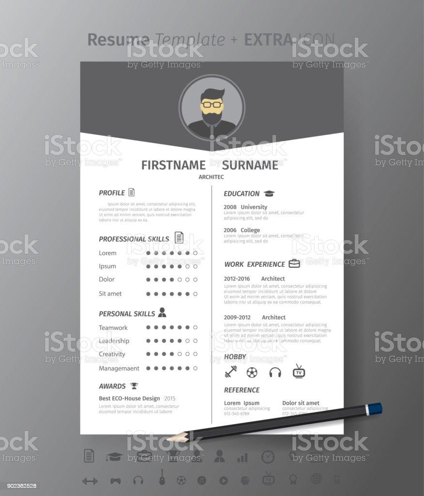 Ilustración de Plantilla De Diseño Limpio Moderno De Curriculum ...