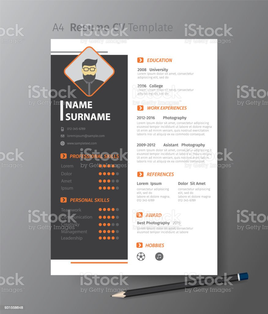 Clean Modern Design Template Of Resume Or Cvvector Illustration ...