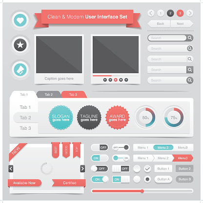 A set of clean and modern graphical user interface with minimal light and shadow effects in white, red, turquoise & black colors. Each element is grouped individually.