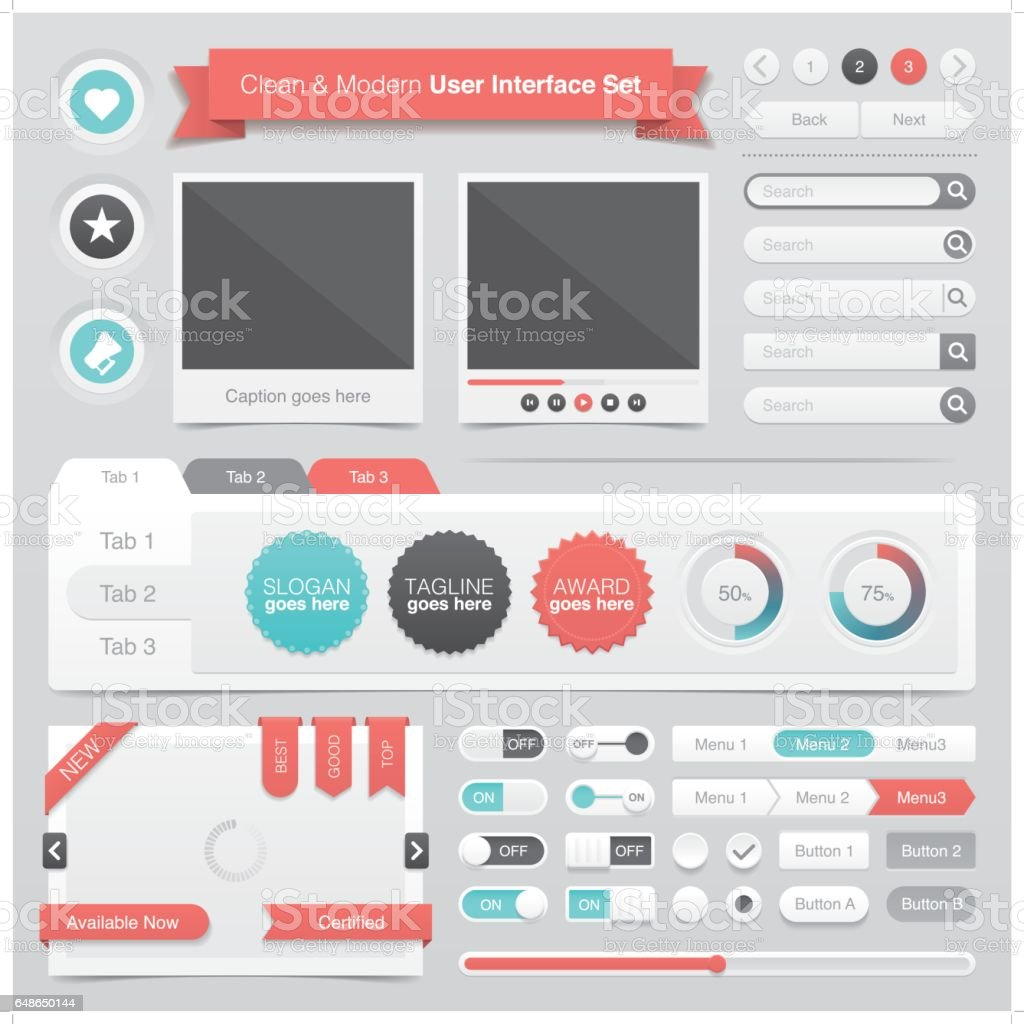 clean & modern graphical user interface set vector art illustration