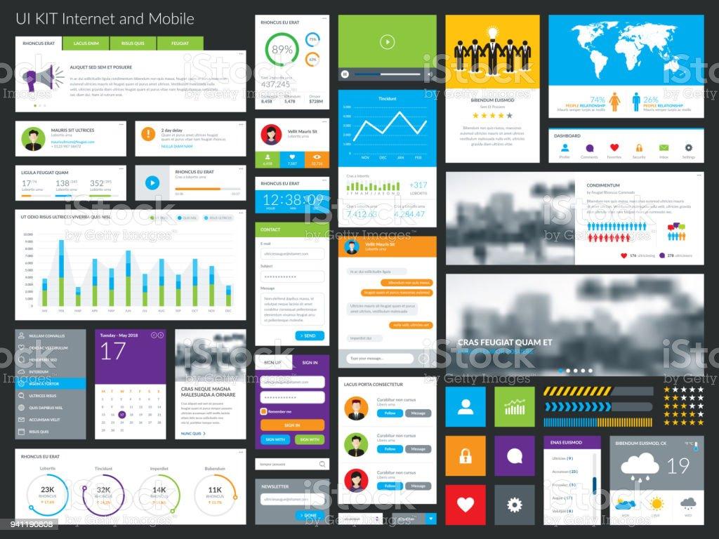 Clean & modern graphical user interface set. vector art illustration