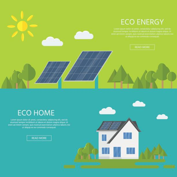 ilustrações de stock, clip art, desenhos animados e ícones de clean modern house with solar panels. eco friendly alternative energy. - solar panel