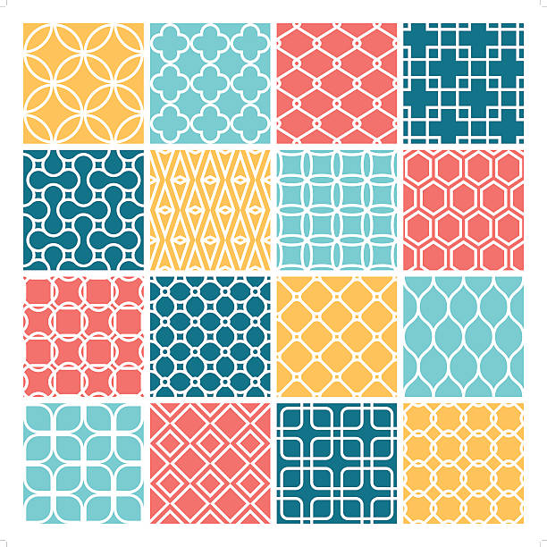 clean modern wallpaper set - 1960s style stock illustrations, clip art, cartoons, & icons