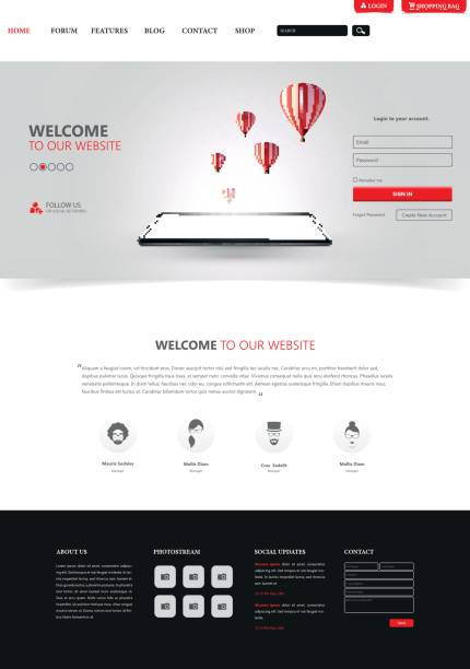 clean modern website interface template, vector illustration. - email templates stock illustrations