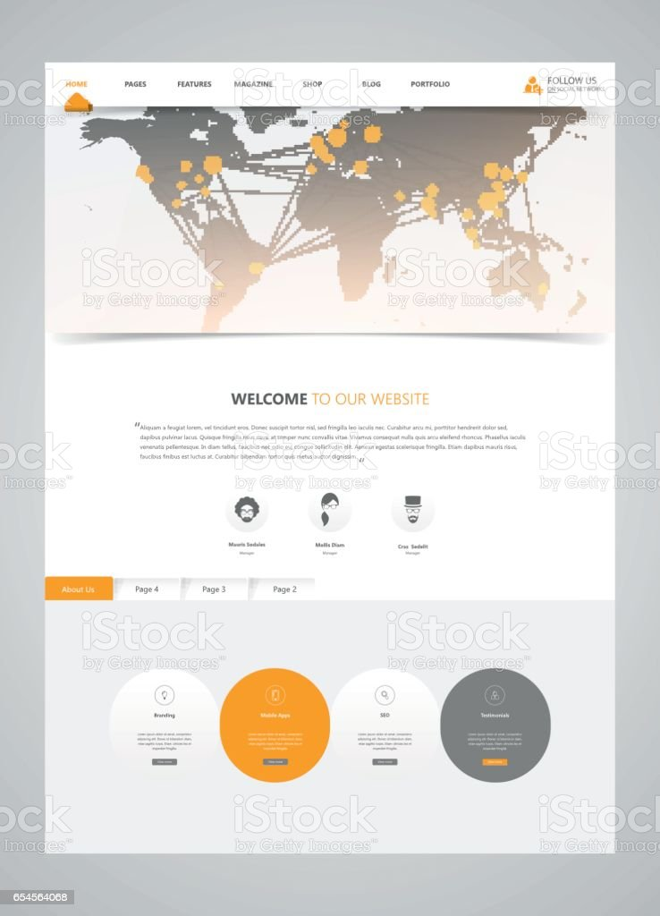 clean modern website interface template with earth map header vector