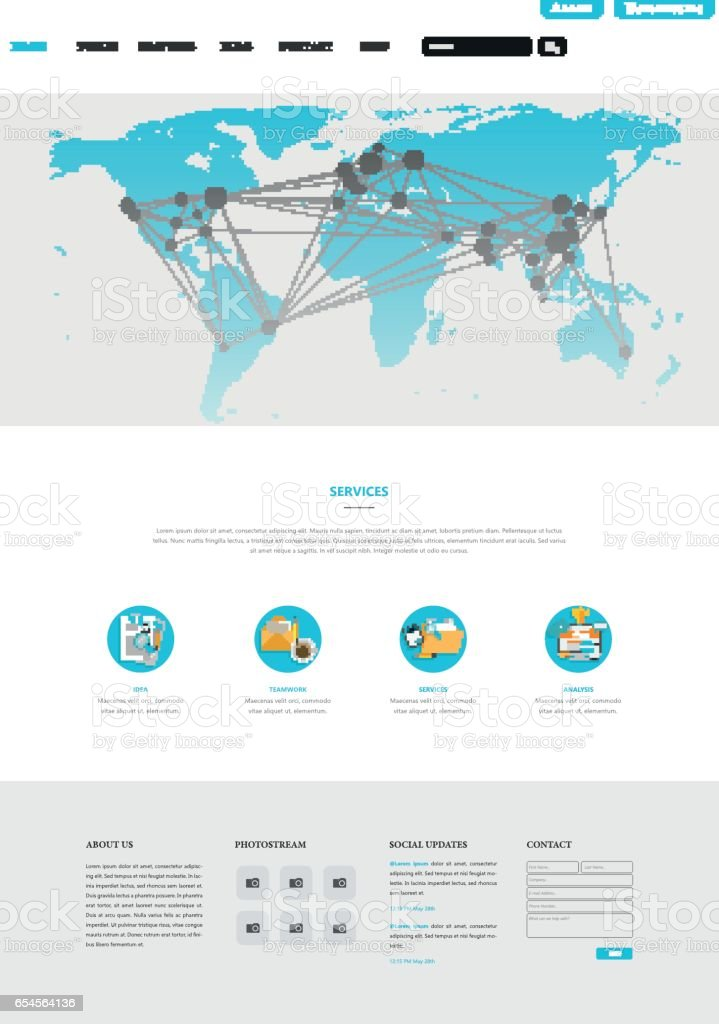 Clean Modern Website Interface Template With Earth Map
