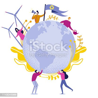 Clean Planet Green Energy Vector Illustration. Man and Woman Holding Globe Planet. People use Clean Energy. Man Speaks Loudspeaker and Keeps Flag with Secondary use Garbage. Cartoon Flat.