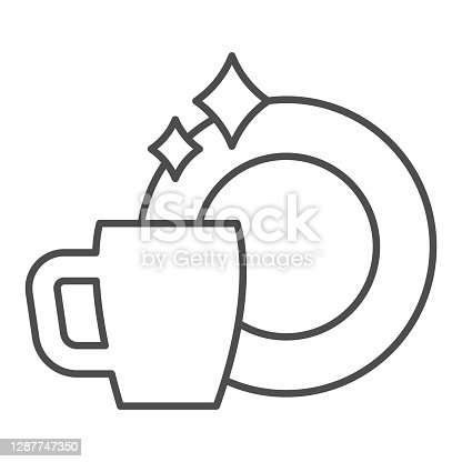 istock Clean plate and cup thin line icon, Hygiene routine concept, Washed mug and dish sign on white background, Clean teacup and ceramic plate icon in outline style for mobile, web. Vector graphics. 1287747350