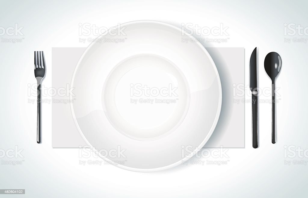 Clean plate with knife and fork vector art illustration