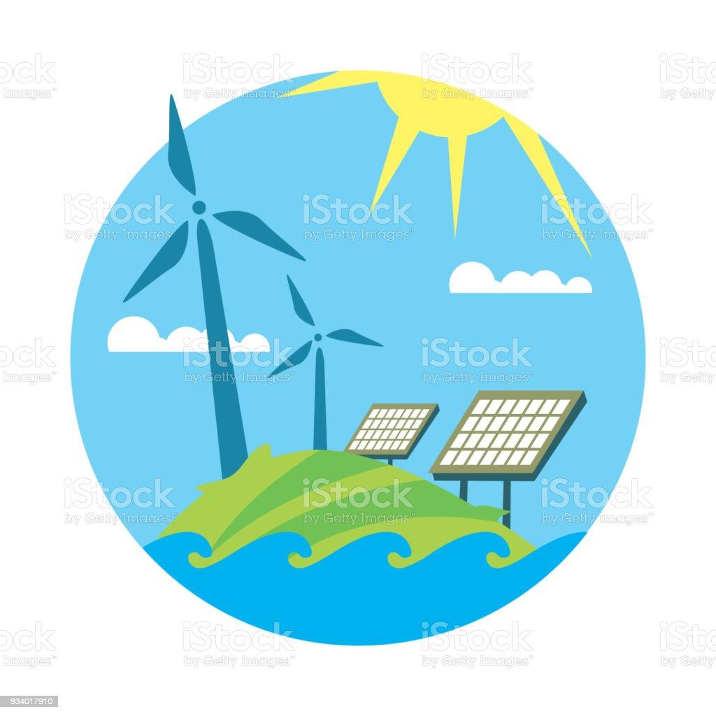 Saubere Ressourcen Sonne Und Windenergieerzeugung Stock Vektor Art ...