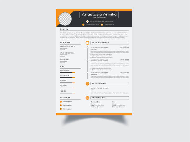 Clean Resume/CV design This is an Elegant, Clean, Creative, Modern & High-Class Clean Resume/CV. This template download contains a 300 dpi print-ready CMYK Ai files. Size A4. Bleed (0.25inx0.25in). CMYK 300DPI Color Design. Files & Features Size A4 Bleed (0.25inx0.25in) EPS Files CMYK, 300 DPI Fully Print Ready 100% Editable & Customizable 100% Vector & Resizable Elements Bleeds, Guides. free font use. font name nexa business cv templates stock illustrations