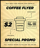 Clean Retro Coffee or Fast Food Promotion Flyer or Poster Template