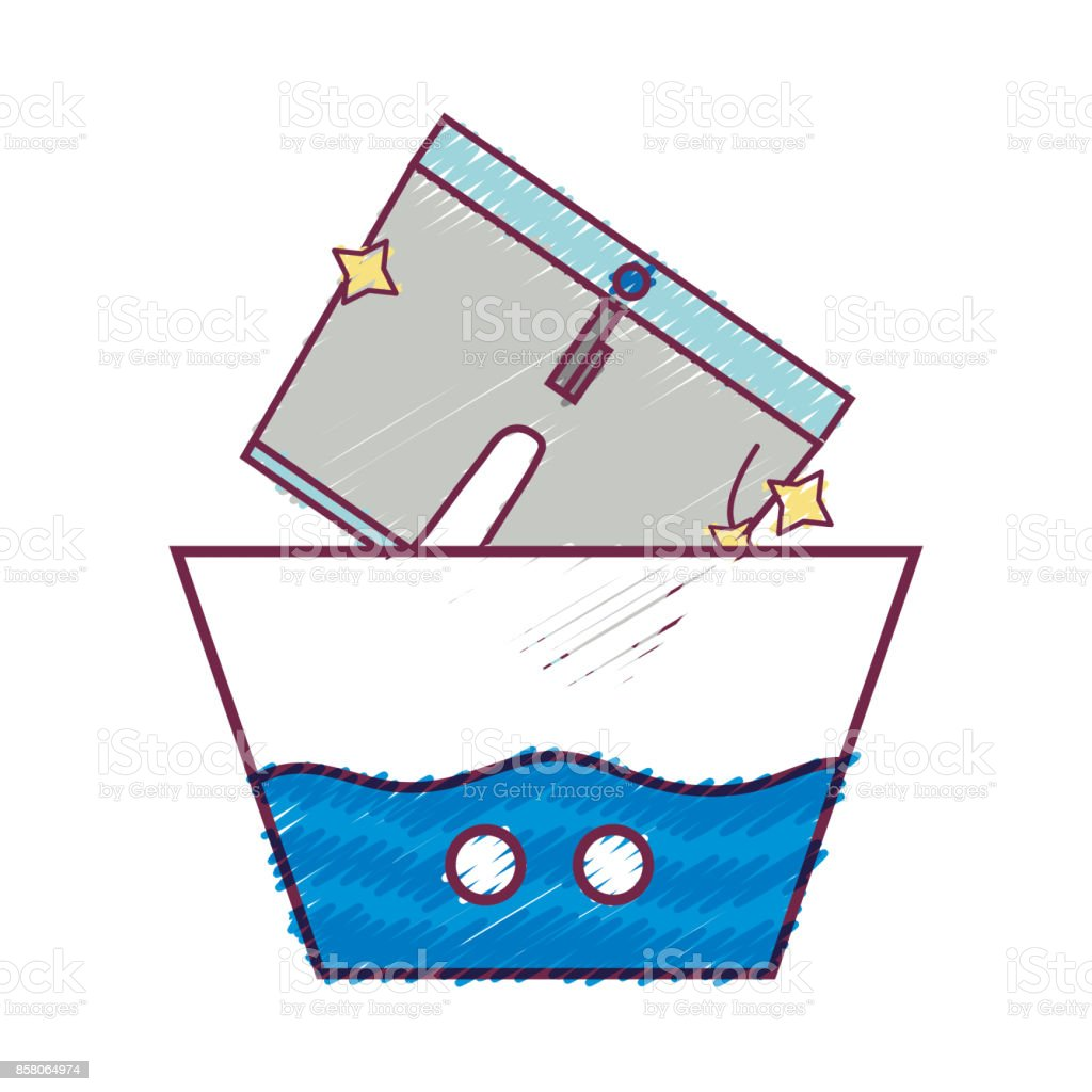 clean shorts soaking in pail with water stock vector art 858064974
