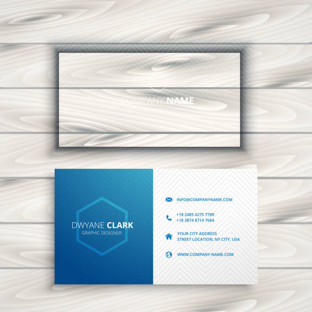 clean simple blue business card template vector design illustration - business cards templates stock illustrations
