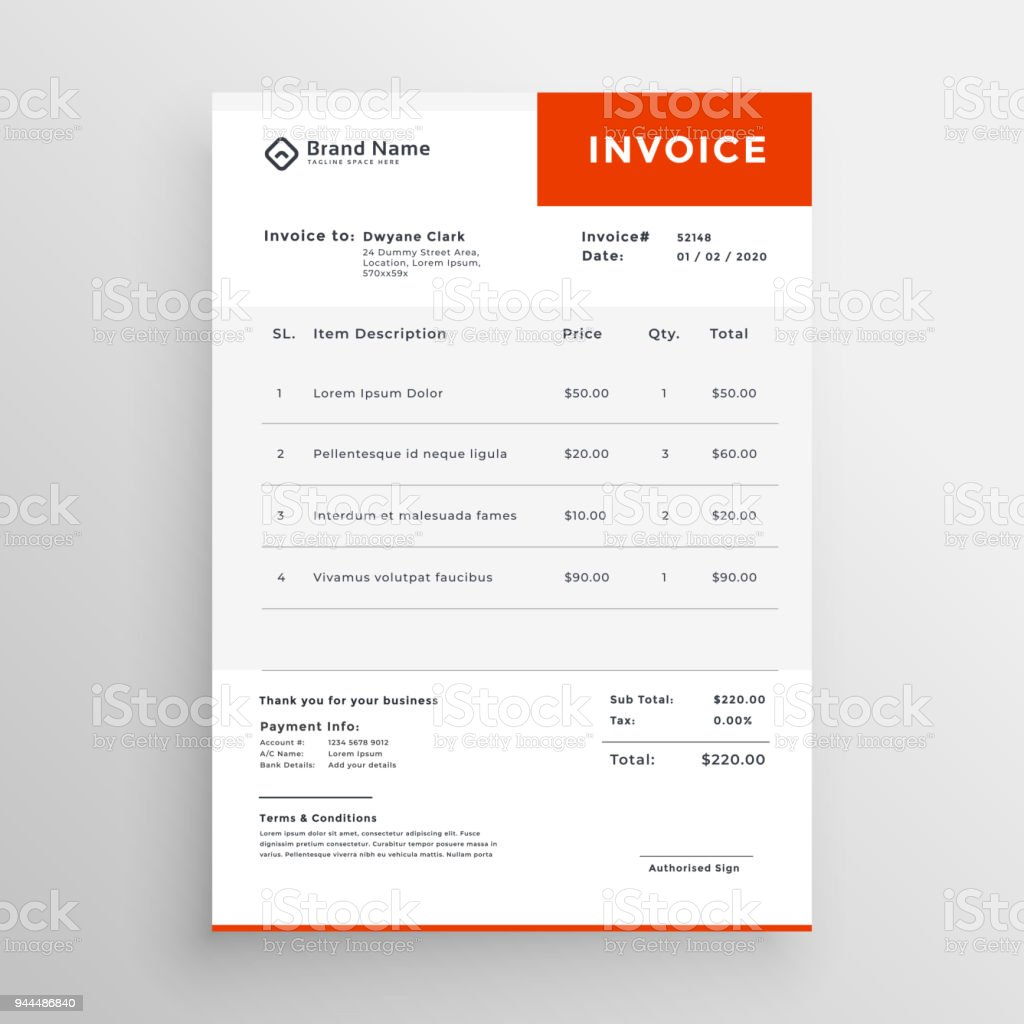 clean simple invoice template design stock vector art more images
