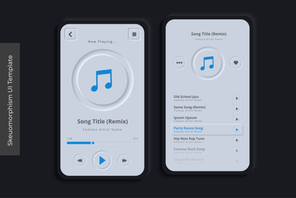 Clean Skeuomorphism UI or Neumorphism Mobile Music App with 3D Indent Button Icons on Modern Bezel Background User Interface Template vector art illustration