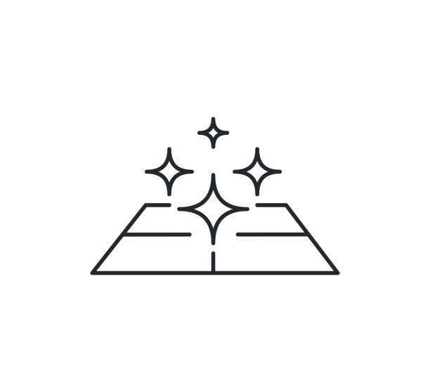ilustrações de stock, clip art, desenhos animados e ícones de clean surface icon, easy cleaning, thin line symbol on white background editable stroke vector illustration eps 10. - na superfície