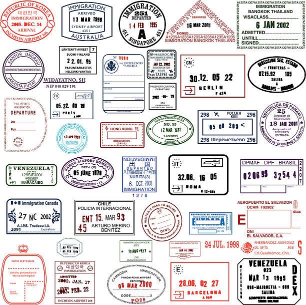 ilustrações, clipart, desenhos animados e ícones de limpar de selos - passaporte e visto