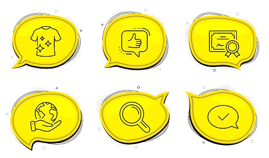 Clean t-shirt, Like and Research icons set. Approved message sign. Laundry shirt, Thumbs up, Magnifying glass. Vector
