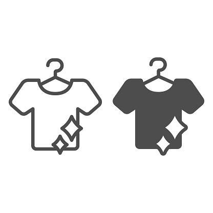 Clean T-shirt on hanger line and solid icon, Hygiene routine concept, Laundry washing sign on white background, Hanging clean shirt icon in outline style for mobile and web design. Vector graphics.