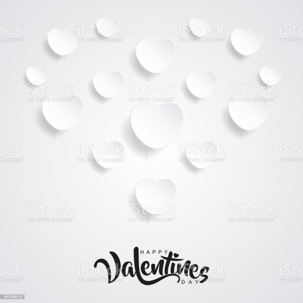 Clean Valentines Day Background With Paper Cut Style Of Design