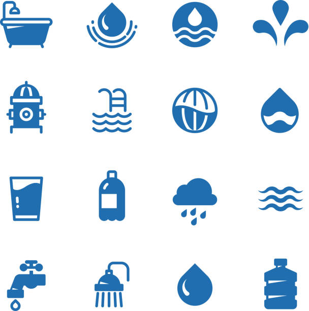 bildbanksillustrationer, clip art samt tecknat material och ikoner med rent vatten silhuett vektor ikoner. aqua piktogram - pool