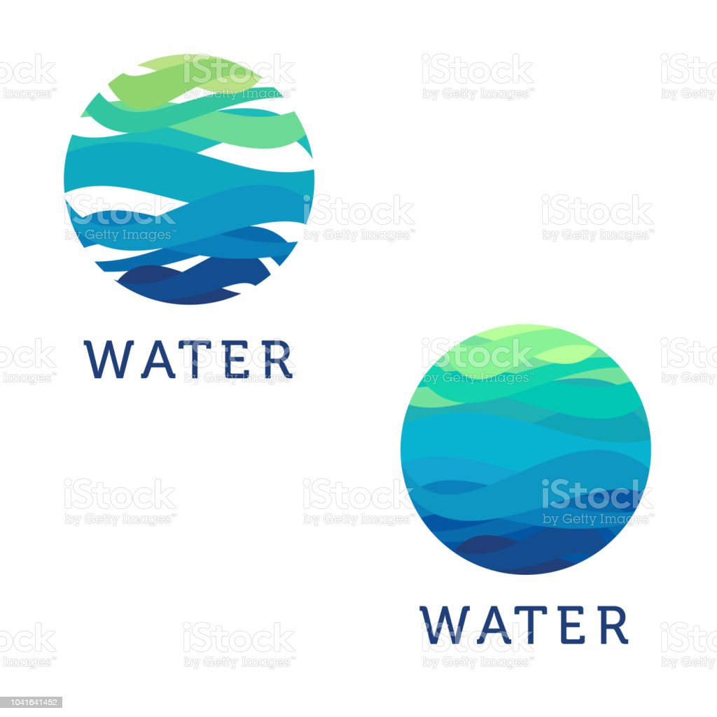 Clean water. Vector abstract design element. Water circle vector art illustration