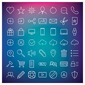 A set of 49 simple web icons. Everything is grouped individually.