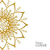 Clean white cover with gold beautiful flower. Golden vector mandala isolated on white background. A symbol of life and growth.