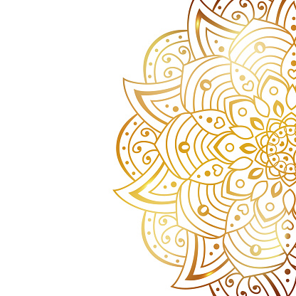 Clean white cover with gold beautiful flower. Golden vector mandala isolated on white background.