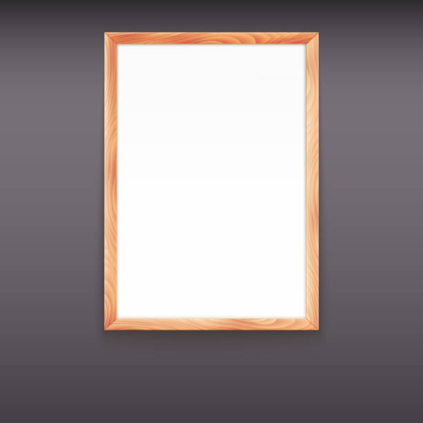A Clean Wood Framed Whiteboard Hanging On A Dark Wall Stock Vector