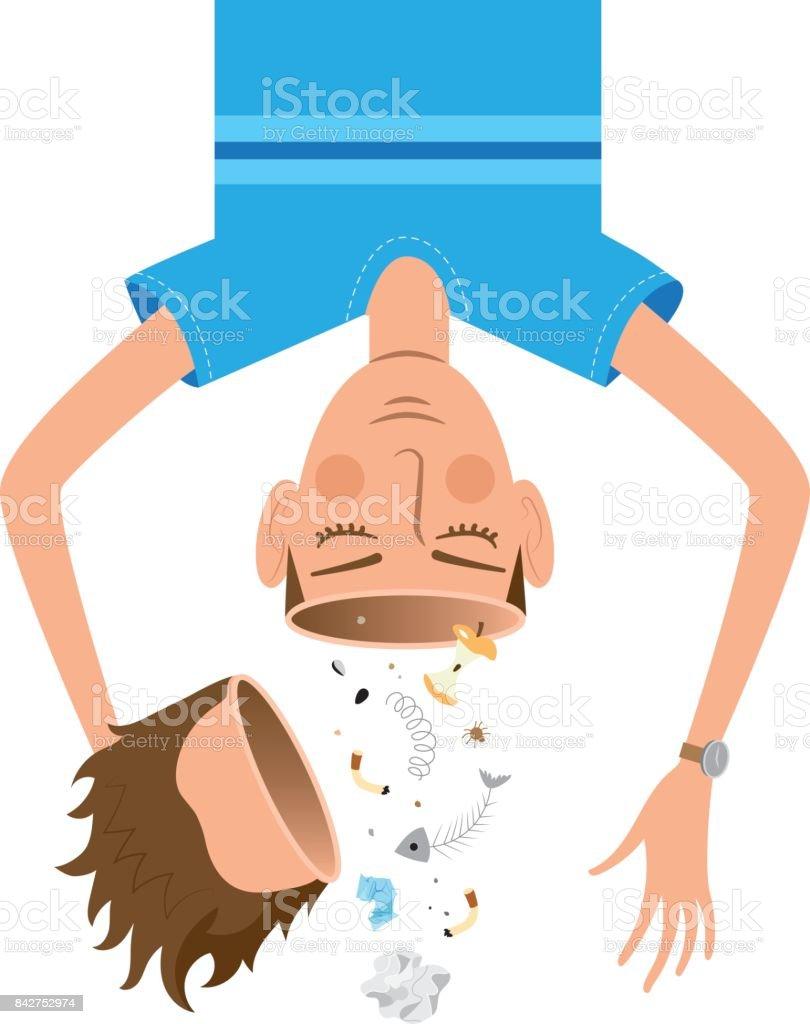 Clean your brain head of garbage cartoon illustration vector art illustration