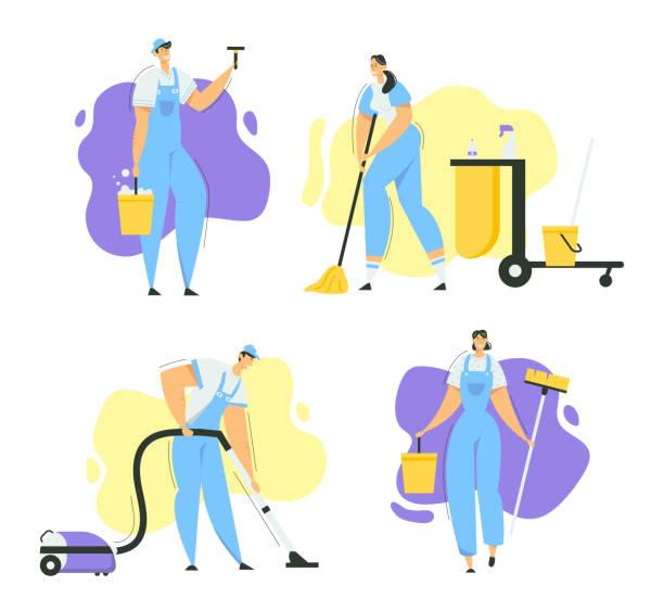 モップ、掃除機やツールでクリーナー文字。設備のあるスタッフとのクリーニングサービス。主婦が家を洗う、管理人労働者。ベクトル平面イラスト - 妻点のイラスト素材/クリップアート素材/マンガ素材/アイコン素材