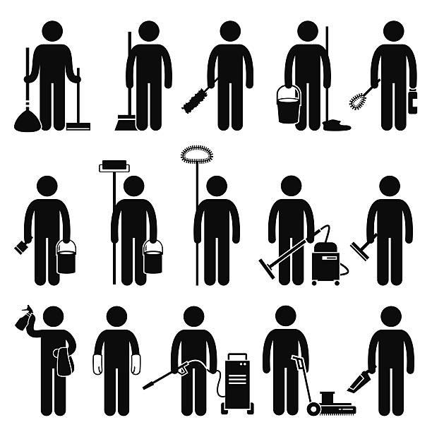 stockillustraties, clipart, cartoons en iconen met cleaner man cleaning tools and equipments stick figure pictogram icons - opruimen