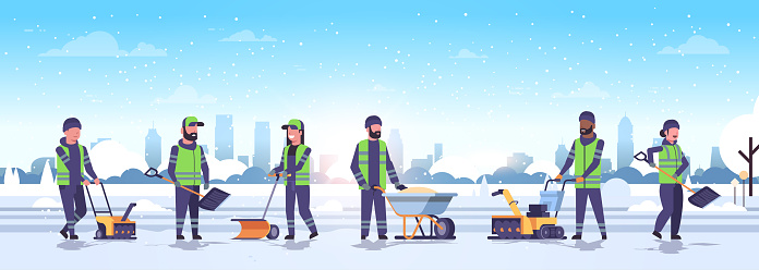 cleaners team using different equipment and tools snow removal winter street cleaning service concept men women in uniform urban snowy park landscape background flat full length horizontal